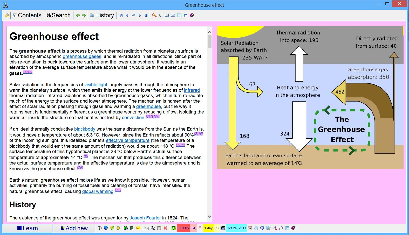 SuperMemo: A topic with an article about the greenhouse effect imported  from Wikipedia