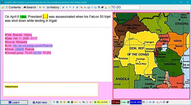 SuperMemo: The picture of the African political map zoomed in on Rwanda to illustrate to an item about the assassination of the President Habyarimana in 1994