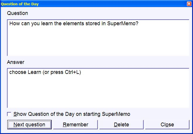 Question of the day in SuperMemo (24103 bytes)